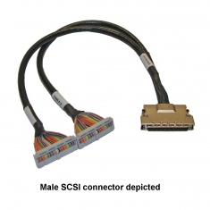 Cable 68-Pin SCSI Micro-D F to 2x34 1m - 40-971-068-1m-FF
