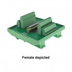 37-Pin D-type Breakout Male DIN mount - 40-967-037-M
