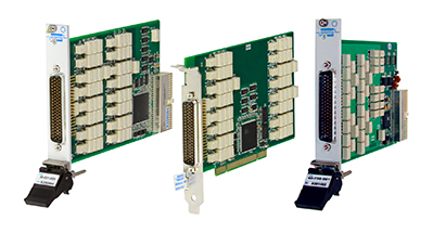 Pickering's Ethernet switching modules: 40-201 PXI fault insertion, 50-201 PCI fault insertion, and the 40-736 PXI multiplexer.