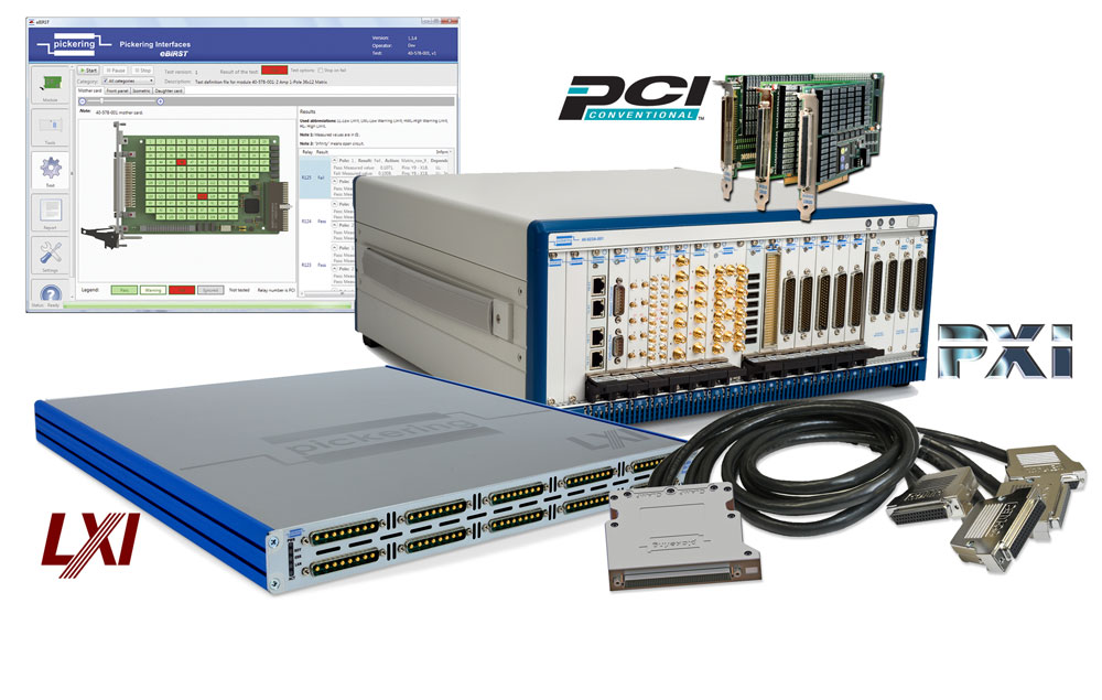 Pickering offers PXI, LXI & PCI switching & simulation, cables & connectors