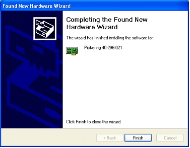 Screenshot of the wizard finishing installing the driver