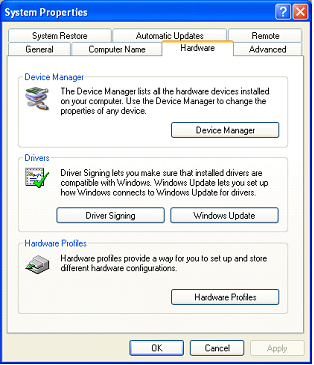 Screenshot of the Hardware tab leading to Device Manager