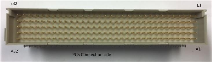 E-type 160-pin connector, PCB side marked