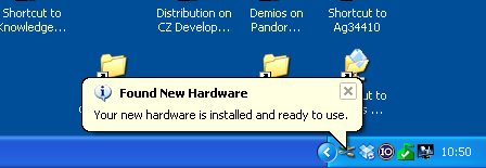 Screenshot of pop-up of found new hardware