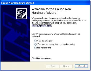 Screenshot of installing new hardware wizard