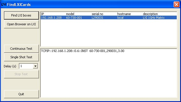 Screenshot of the Find LXI cards tool