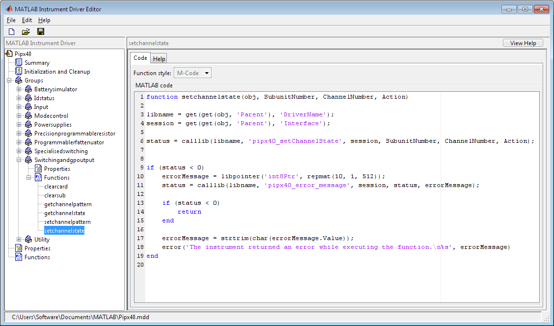 Editing the functions using midedit command in MATLAB