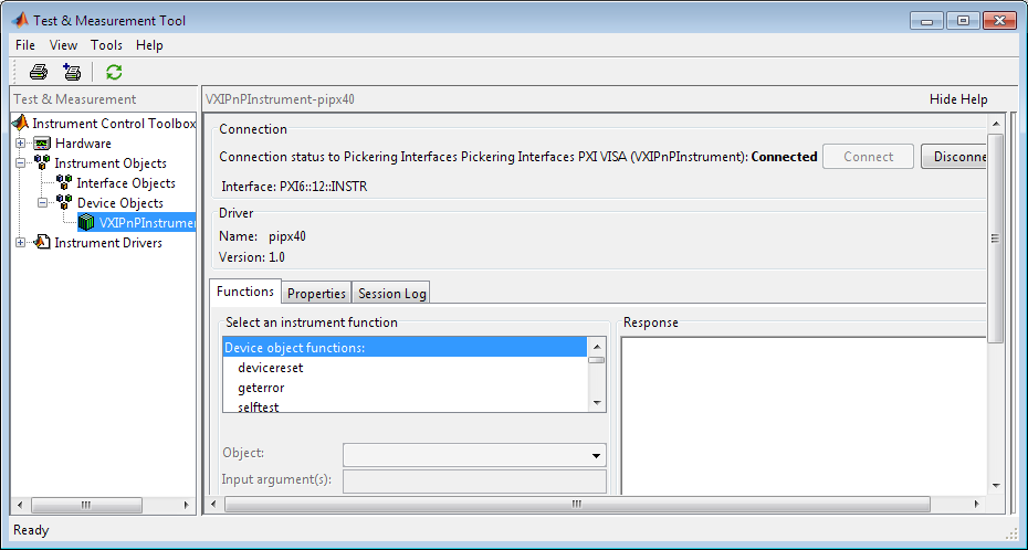 Screenshot of MATLAB with VXIPnPInstrument-Pipx40 visible