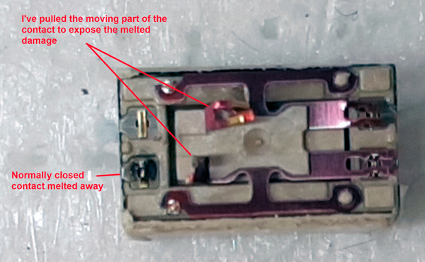 Example of a melted relay
