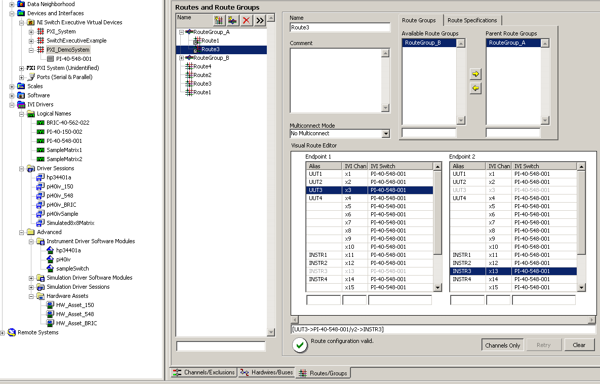 Screenshot of MAX editing the routes and route groups