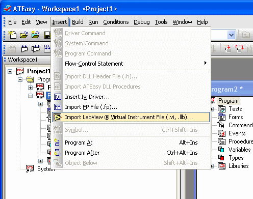 Importing LabView Virtual Instrument File in ATEasy