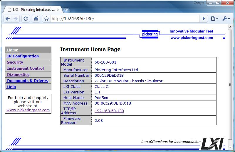 Screenshot of LXI home page