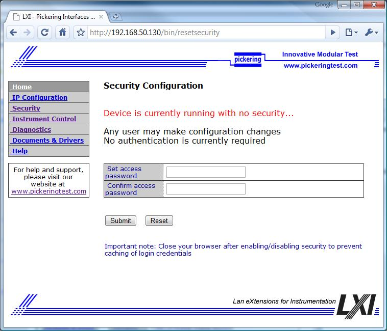 Screenshot of LXI security page